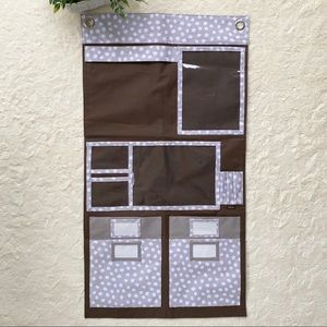 Thirty one taupe brown polka dot wall organizer